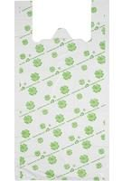 Пакет-майка ПНД белый с рисунком 23 мкм оптом (32+14×65 см, 50 штук в упаковке)