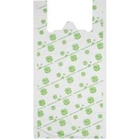 Пакет-майка ПНД белый с рисунком 23 мкм (32+14x65 см, 50 штук в упаковке)